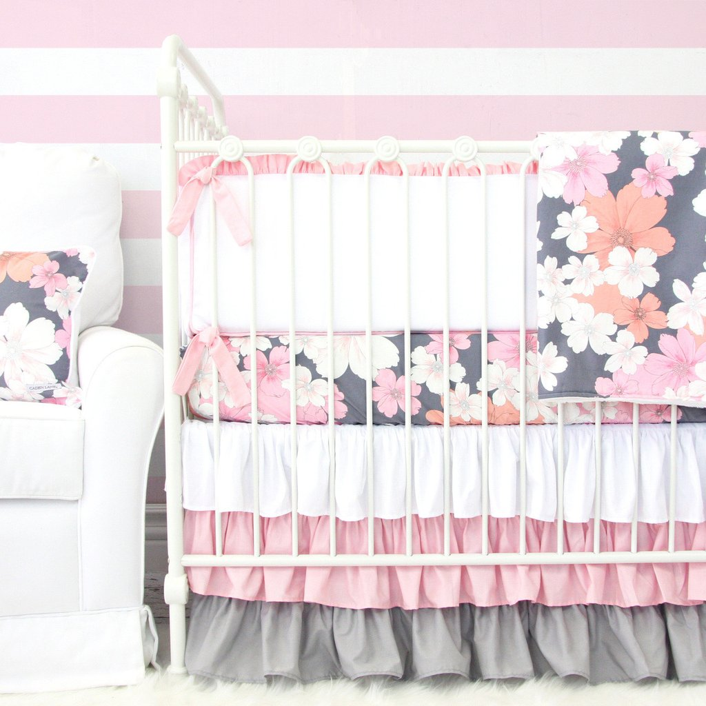 Addisons Pink Gray Floral Crib Bedding By Caden Lane