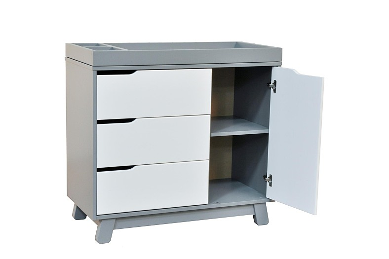 Hudson Changer Dresser In Grey With White By Babyletto