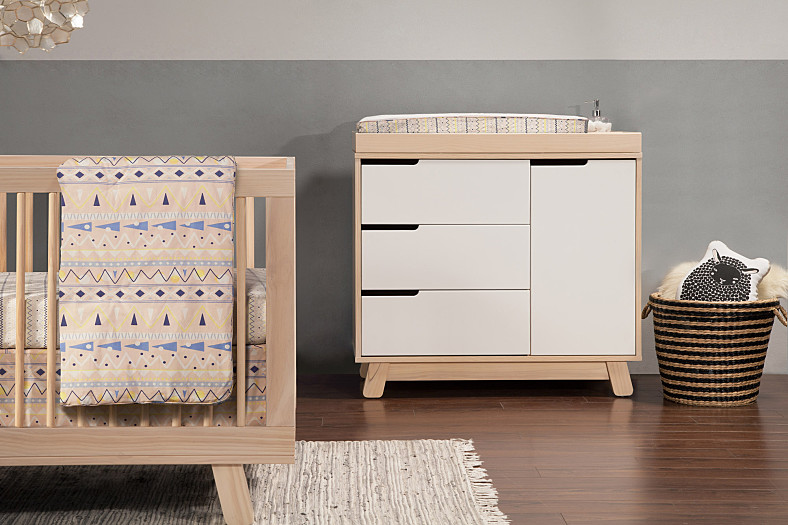 Hudson Changer Dresser In Washed Natural With White By Babyletto