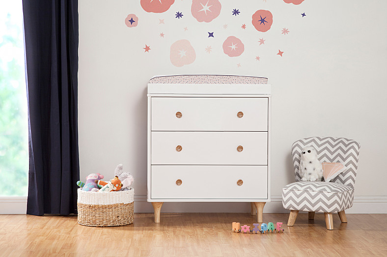 Lolly 3 Drawer Changer Dresser In White With Natural By