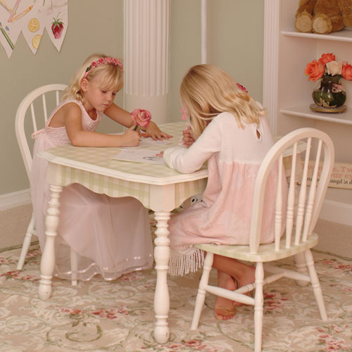 - Vintage Table & Chairs In Pink Gingham By AFK Art For Kids