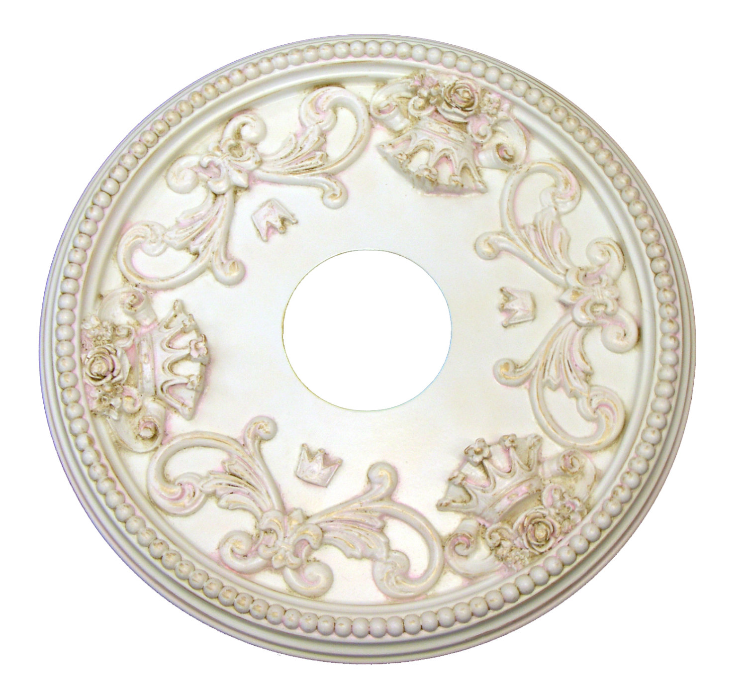Shabby Rose And Crown Ceiling Medallion In Custom Cream Pink Gold By I Lite 4 U