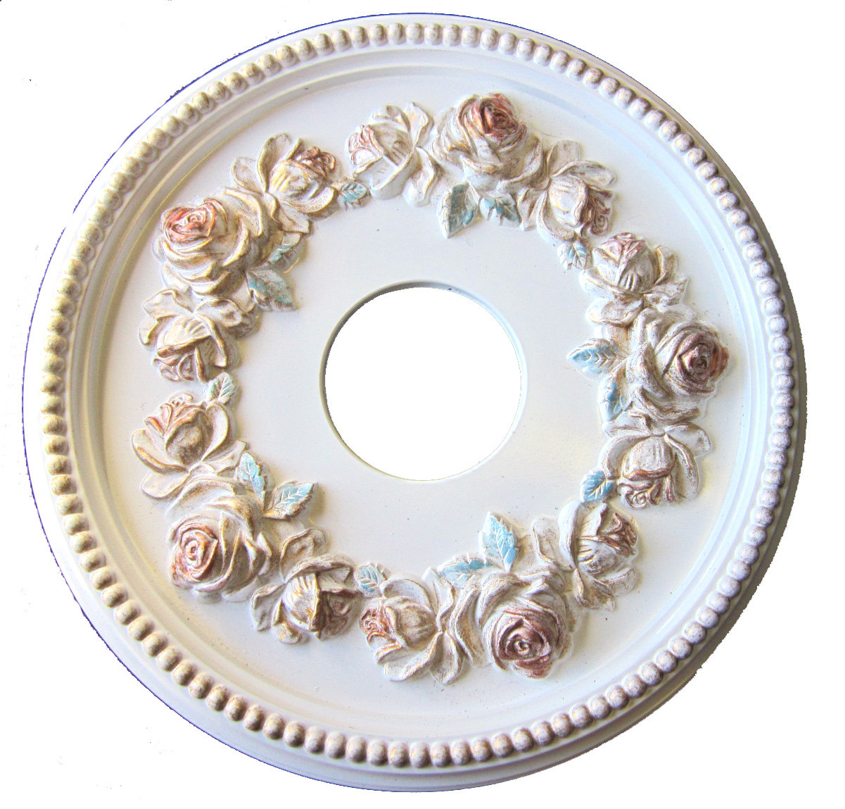 Shabby Rose Ceiling Medallion In Antique White Gold Green