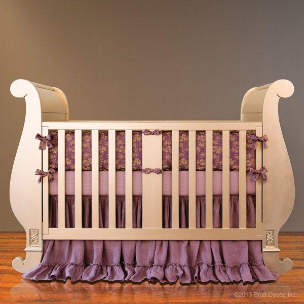 Chelsea Sleigh Crib in Antique Silver by Bratt Decor