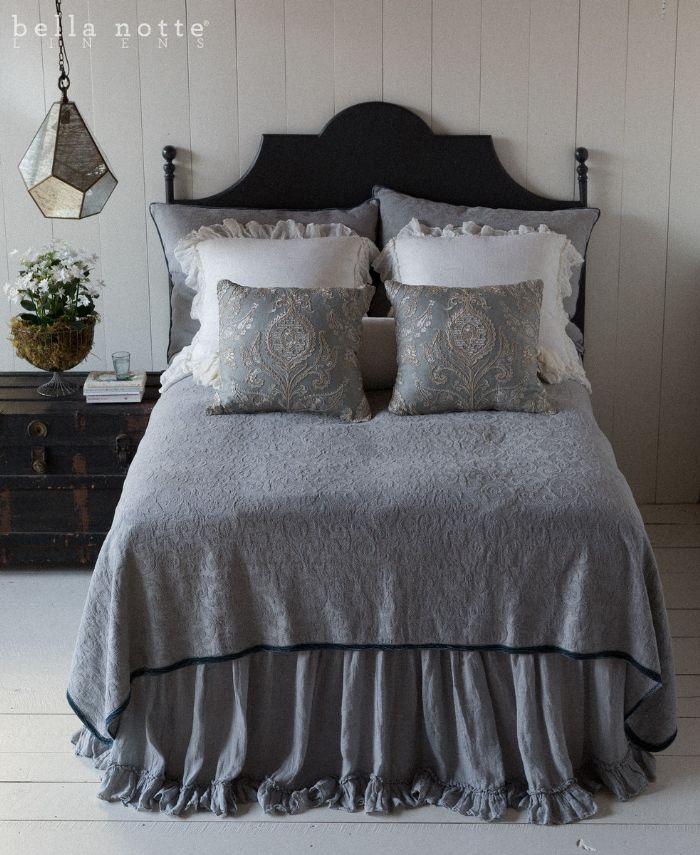 Adele & Linen in Mineral and Winter White Children's-Adult Bedding by Bella Notte Linens