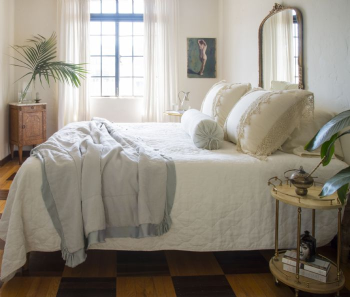 Austin,Frida & Linen in Parchment, White, Sterling Bella Notte Linens Bedding by Bella Notte Linens