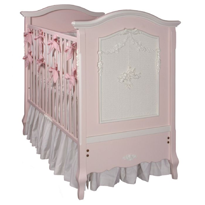 Cherubini Crib in Pink with Snow by AFK Art For Kids