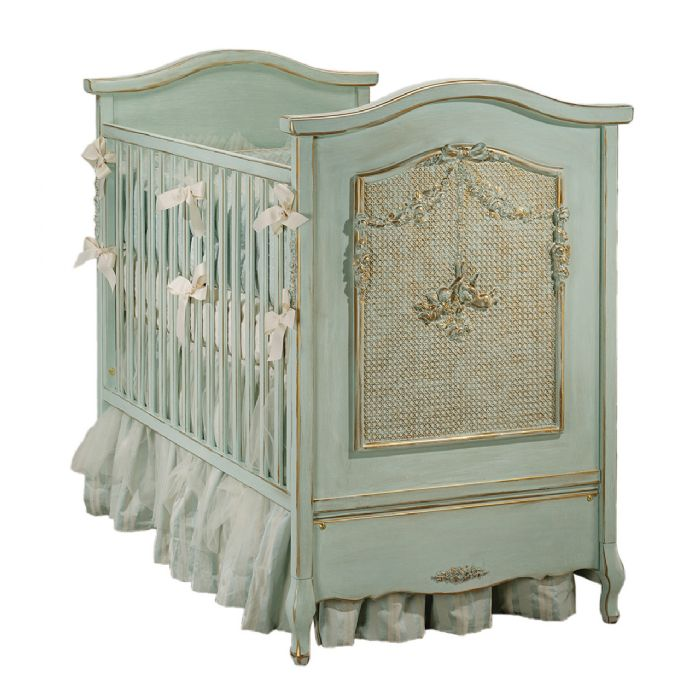 Cherubini Bonne Nuit Crib in Versailles Blue by AFK Art For Kids