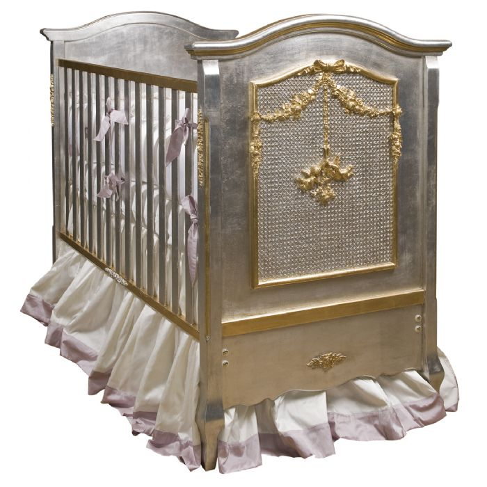 Cherubini Crib in Silver with Gold Gilding by AFK Art For Kids