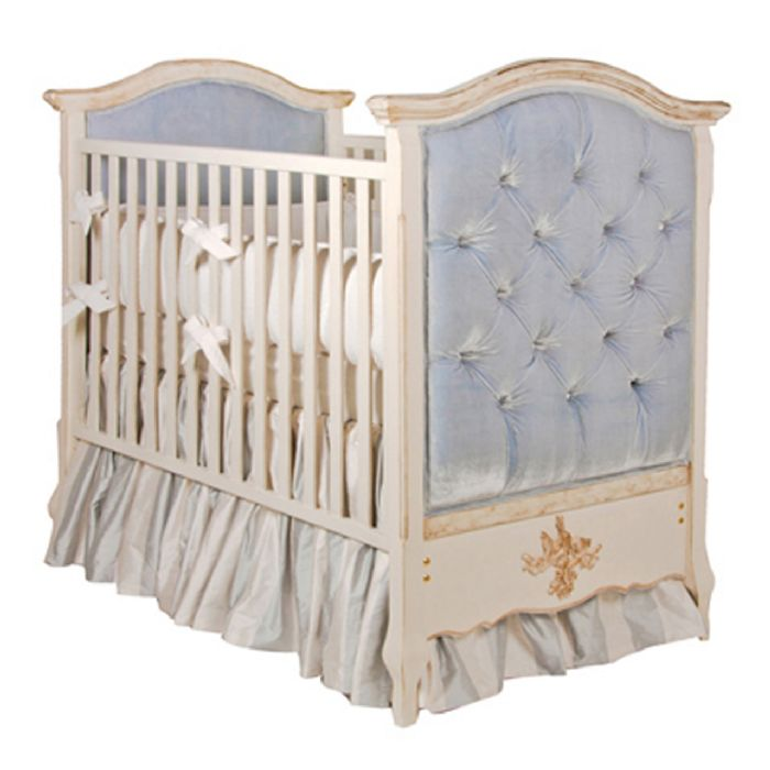 Bordeaux French Panel Upholstered Tufted Crib in Empress Blue by AFK Art For Kids