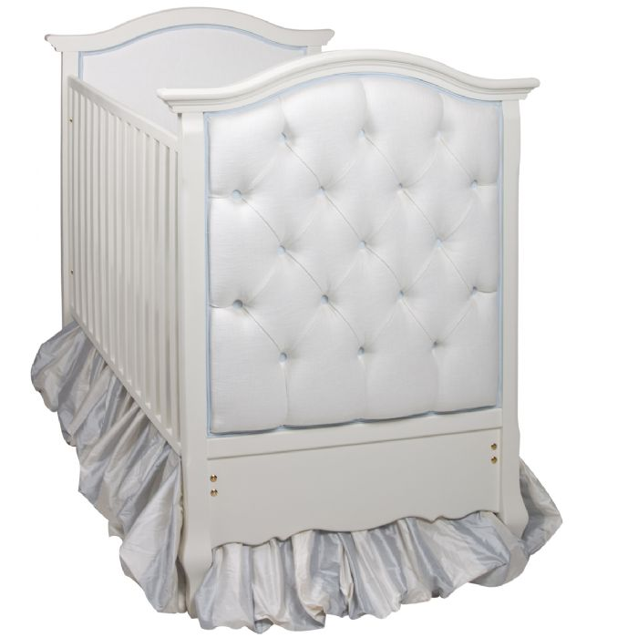 Bordeaux French Panel Upholstered Tufted Crib in Brooke White by AFK Art For Kids