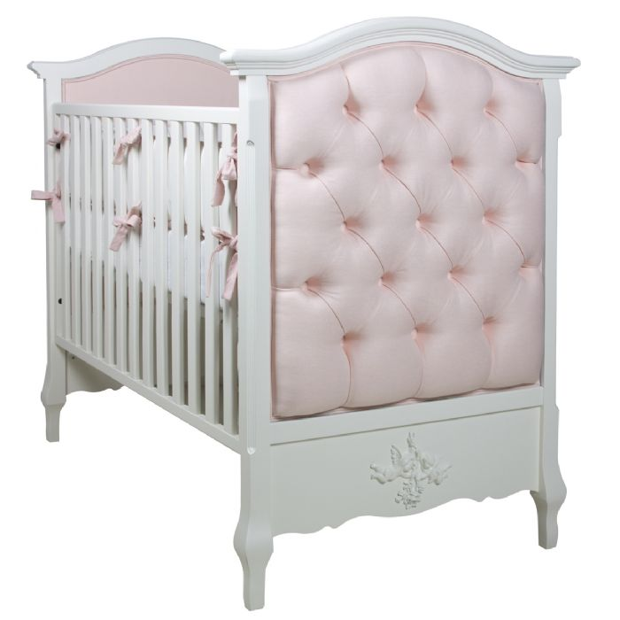 Bordeaux French Panel Upholstered Tufted Crib in Brooke Pink by AFK Art For Kids
