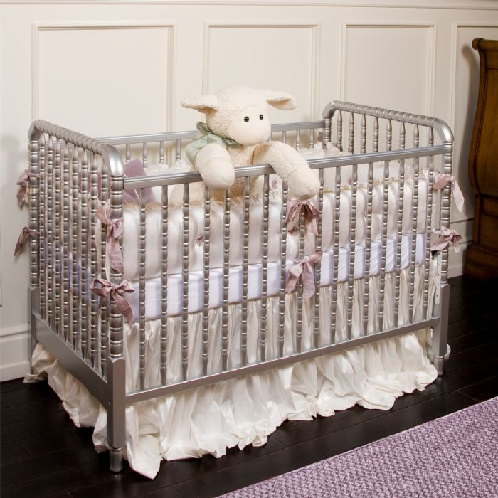 Antique Spindle Crib in Metallic Silver by AFK Art For Kids