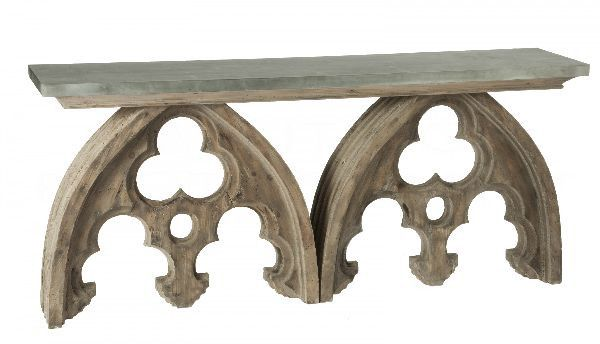 Arched Cathedral Table with Tin Top in Wood by Aidan Gray