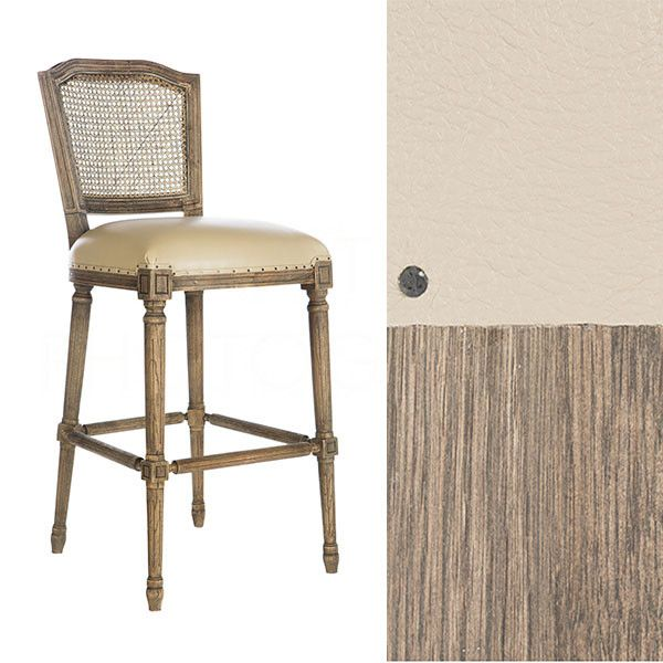 Chelsea Bar Stool in Leather/Cane Back by Aidan Gray