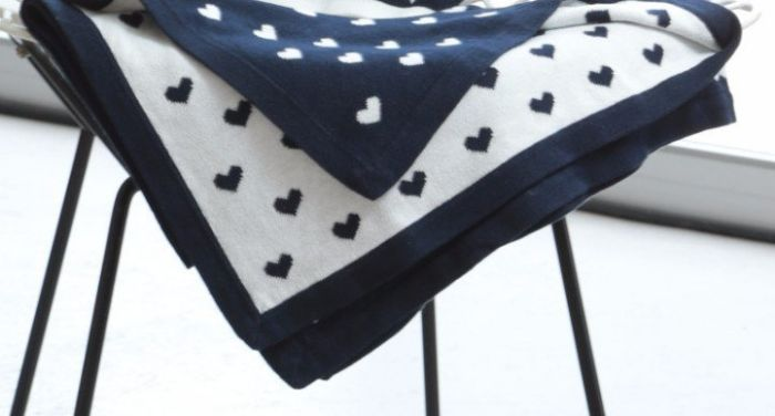 Heart Blanket in Navy and White by ASI