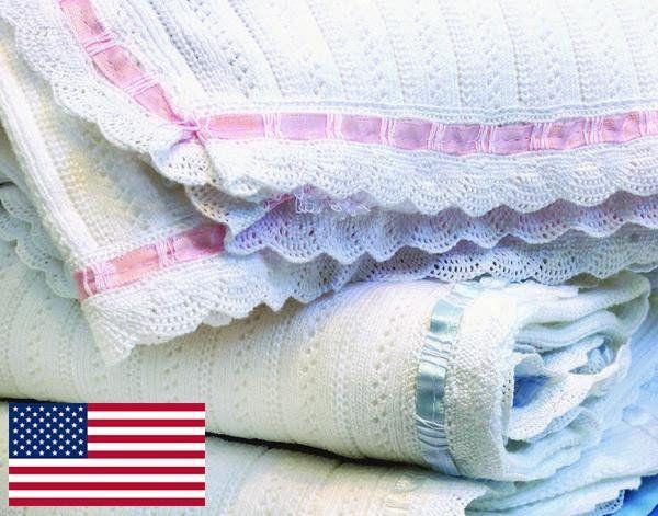Cotton Pointelle Rib w/Ribbon Lace Trim Blanket by ASI