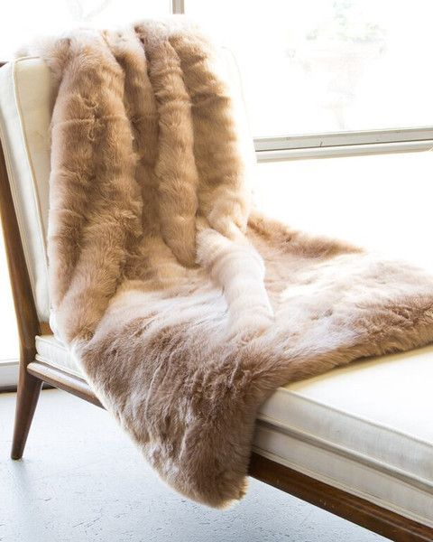 Faux Fur Blanket in Honey Lamb by ASI