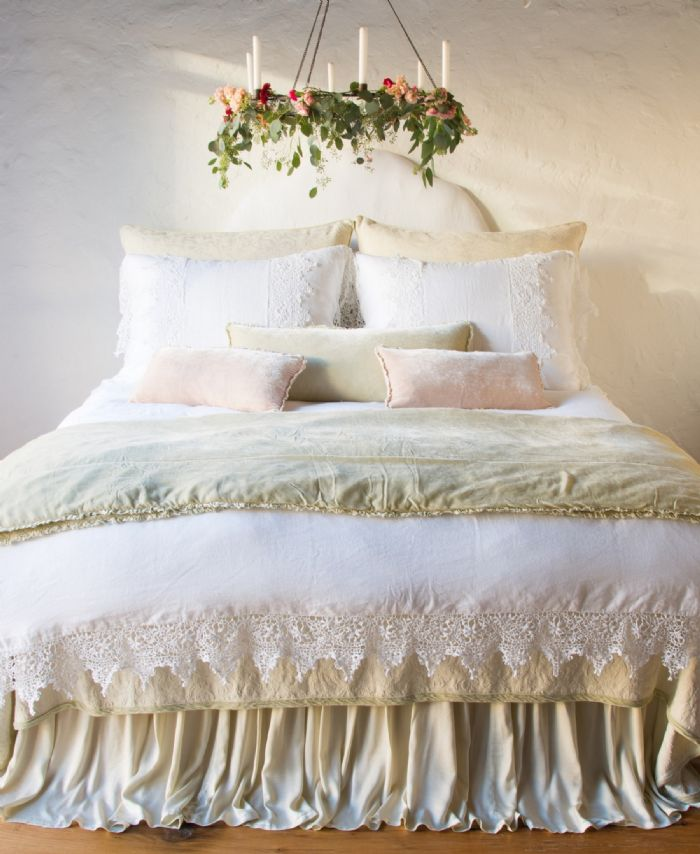 Adele,Carmen, Frida in Parchment and White Bella Notte Linens Bedding by Bella Notte Linens