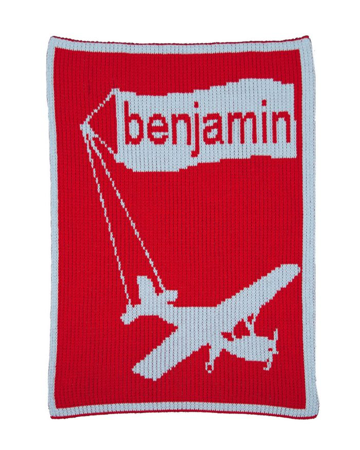 Airplane & Name Banner Blanket by Butterscotch Blankees