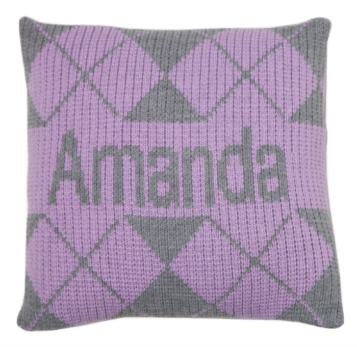 Argyle & Name Pillow by Butterscotch Blankees