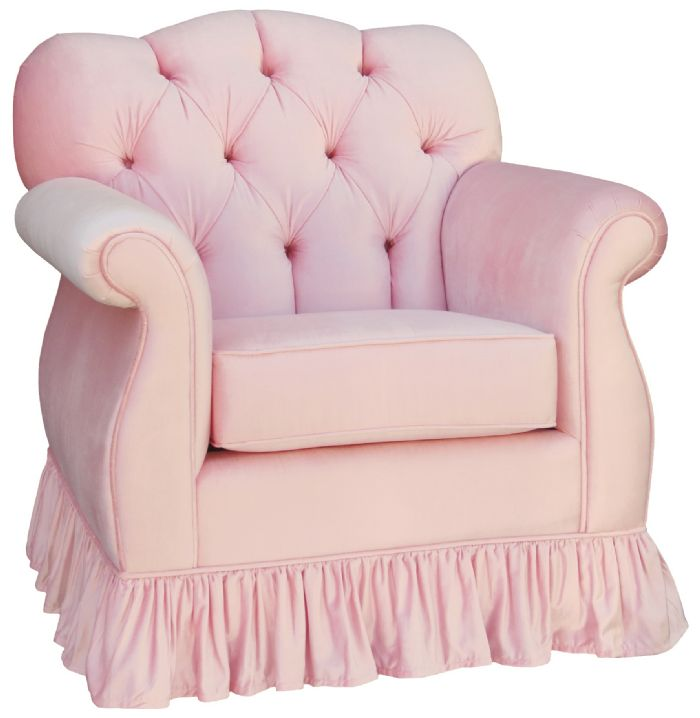 Aspen Empire Tufted Glider Ruffled in Pink Velvet by Angel Song