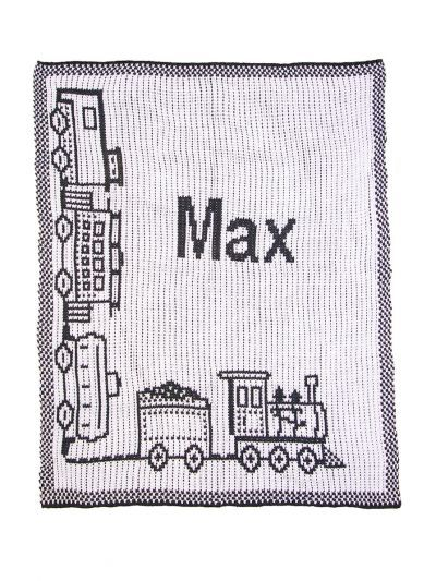 Choo Choo Train & Name Stroller Blanket by Butterscotch Blankees
