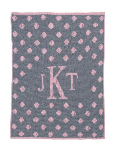 Dotted Monogram Blanket by Butterscotch Blankees
