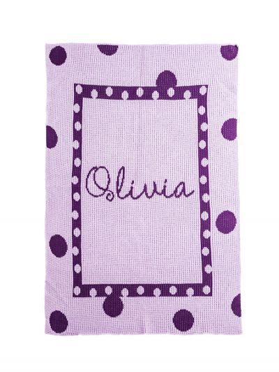 Large Polka Dot & Name Blanket by Butterscotch Blankees