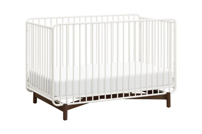Bixby 3-in-1 Convertible Metal Crib in Warm White and Walnut Stain by Babyletto