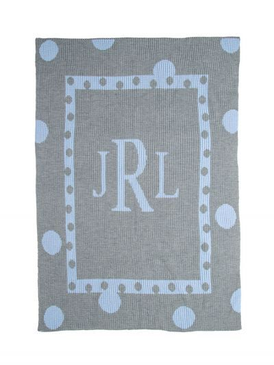 Large Polka Dot & Initials Blanket by Butterscotch Blankees