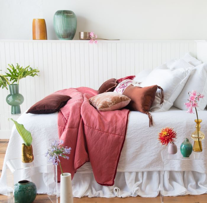 Adele & Paloma in White and Poppy Bella Notte Linens Bedding by Bella Notte Linens