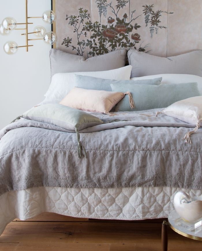 Austin, Ines and Taline in Winter White, Fog & Eucalyptus Bella Notte Linens Bedding by Bella Notte Linens