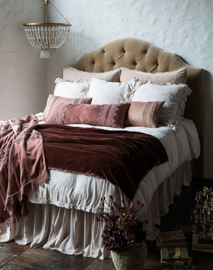 Carmen in Rosegold and Pearl Bella Notte Linens Bedding by Bella Notte Linens