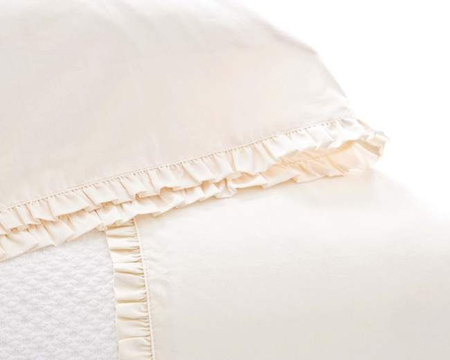 Classic Ruffle Sheet Set in Ivory by Pine Cone Hill