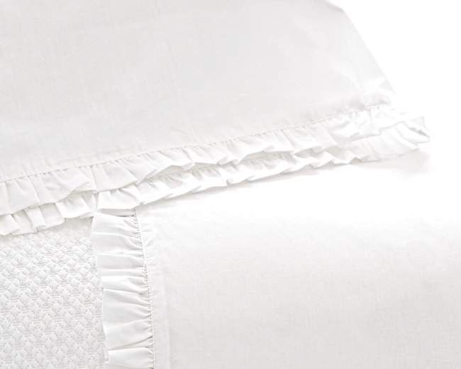 Classic Ruffle Sheet Set in White by Pine Cone Hill