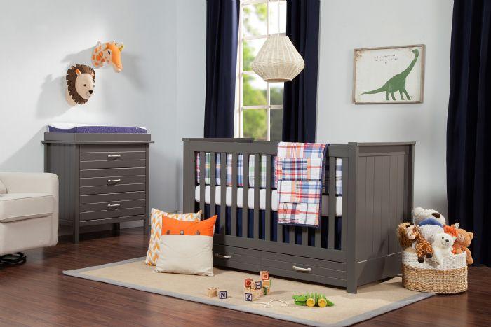 Asher 3-in-1 Convertible Crib in Slate by DaVinci Baby