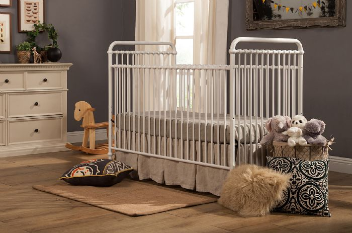 Abigail 3-in-1 Convertible Crib with Toddler Bed Conversion Kit in Washed White by Million Dollar Baby Classic
