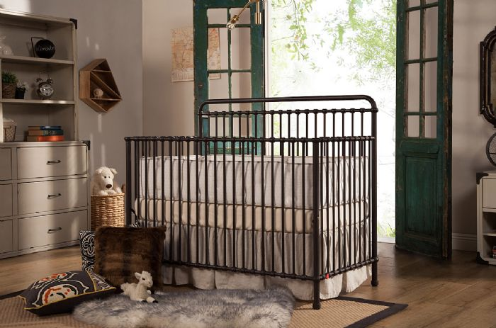 Winston 4-in-1 Convertible Crib with Toddler Bed Conversion Kit in Vintage Iron by Million Dollar Baby Classic