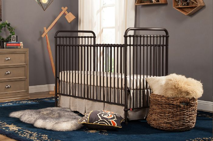 Abigail 3-in-1 Convertible Crib with Toddler Bed Conversion Kit in Vintage Iron by Million Dollar Baby Classic