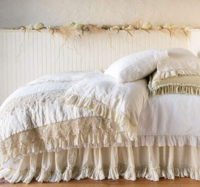 Frida & Linen Whisper in Parchment and White Children's-Adult Bedding by Bella Notte Linens