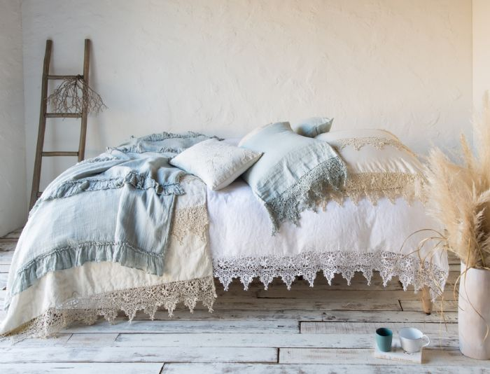 Frida,Seville & Linen Whisper in Parchment and Eucalyptus Children's-Adult Bedding by Bella Notte Linens