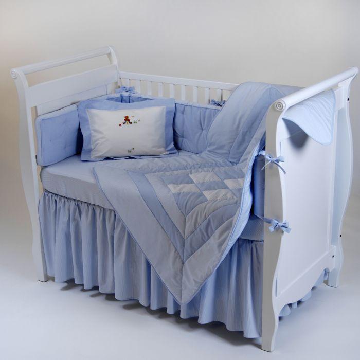 Unembroidered Crib Baby Bedding in Blue by Gordonsbury
