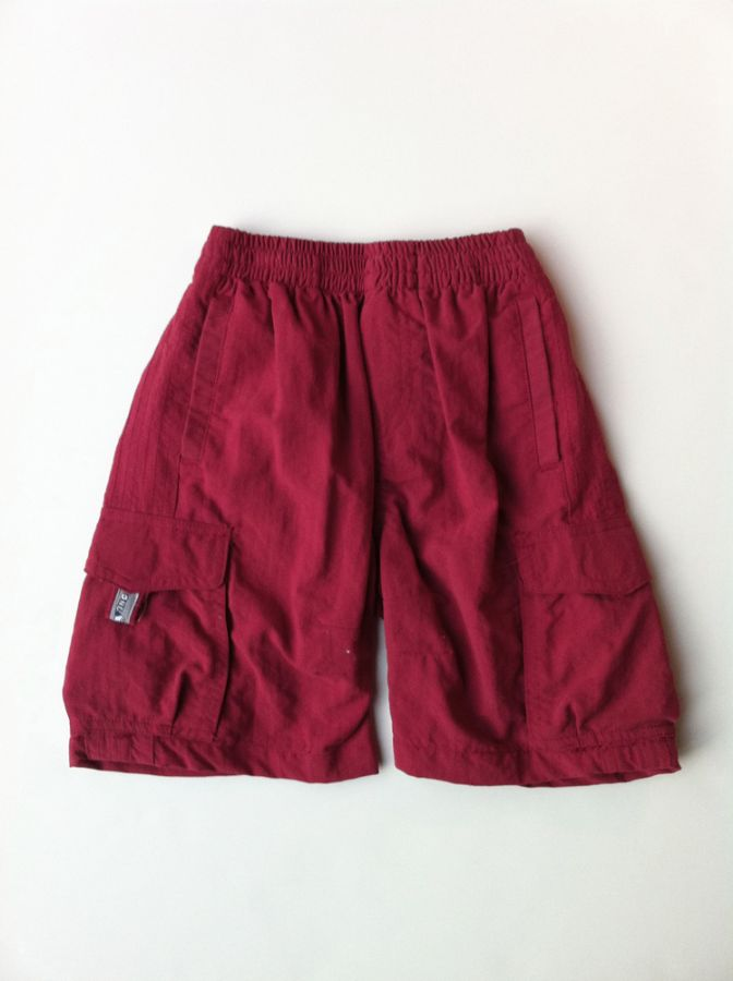 Red Tencel Cargo Short by One Kid