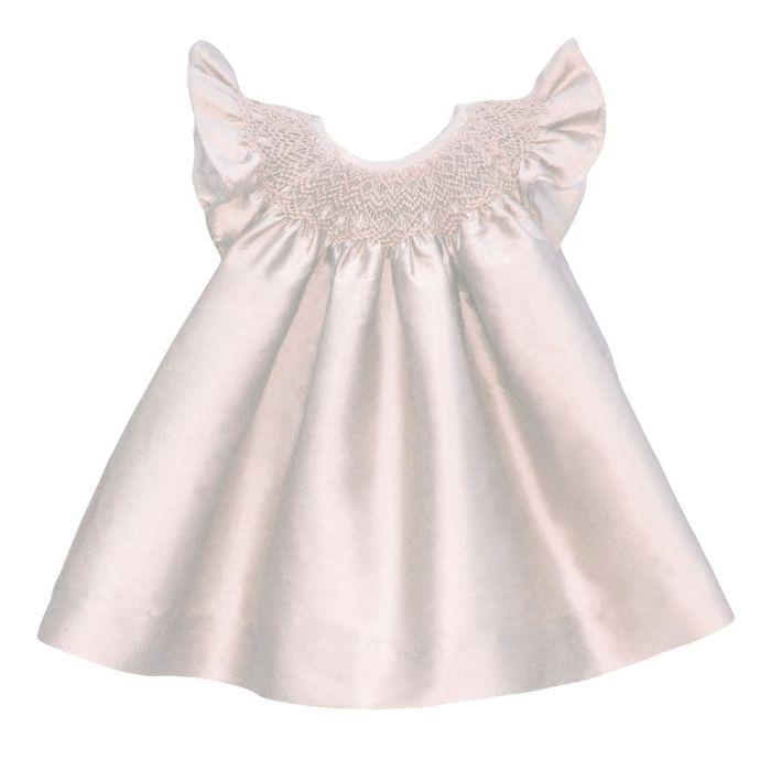 Hand Smocked Baby Bishop Dress in White Silk or Taffeta by Isabel Garreton