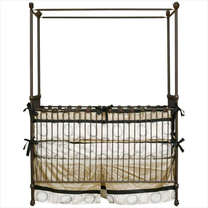 Cherub Finial Iron Crib by Corsican