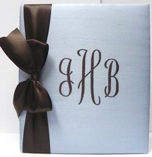 Blue Silk with Brown Satin Ribbon Baby Book by Jan Sevadjian Designs