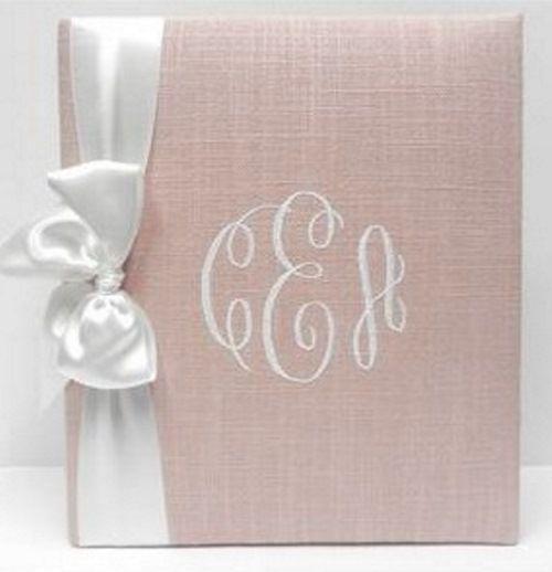 Blush Linen with White Satin Ribbon Baby Book by Jan Sevadjian Designs