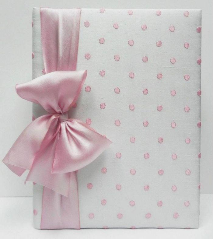 White with Pink Dot Silk Baby Book by Jan Sevadjian Designs