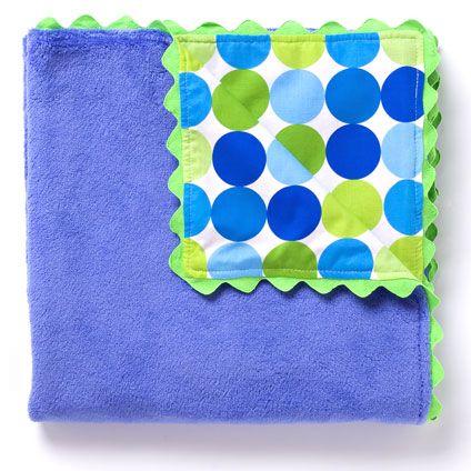 Big Blue Dots Flurr Blanket by Little Moonjumper